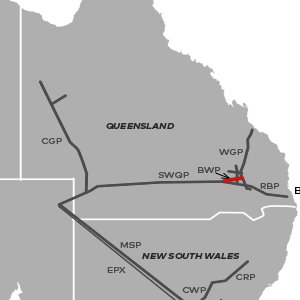 map of the Berwyndale Wallumbilla Pipeline location